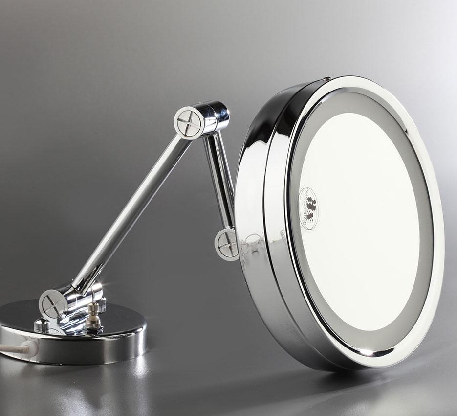 Espejo pared redondo luz dos brazos 2 eurosanic for Espejo redondo pared